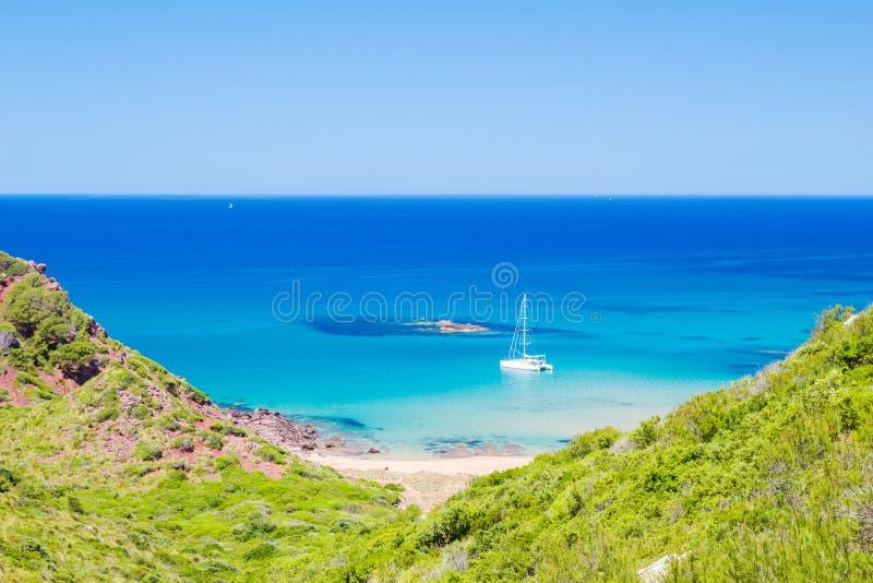 Cala del Pilar beach scenery. In sunny day at Menorca, Spain stock photo