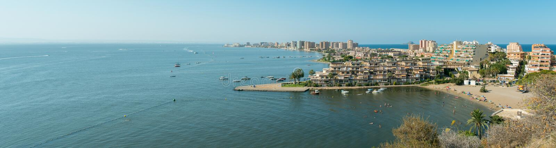 Cala del Pino Panorama - La Manga del Mar Menor royalty-vrije stock foto