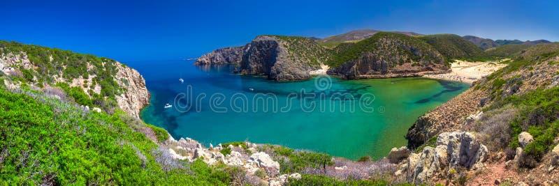 Cala Domestica plaża, Costa Verde, Sardinia, Włochy Sardinia jest drugi losem angeles obrazy royalty free