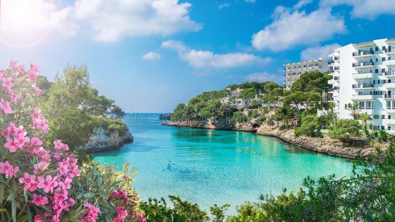 Cala Dor zatoka Cala d Lub miasto «, Palmy Mallorca wyspa, Hiszpania zdjęcie royalty free