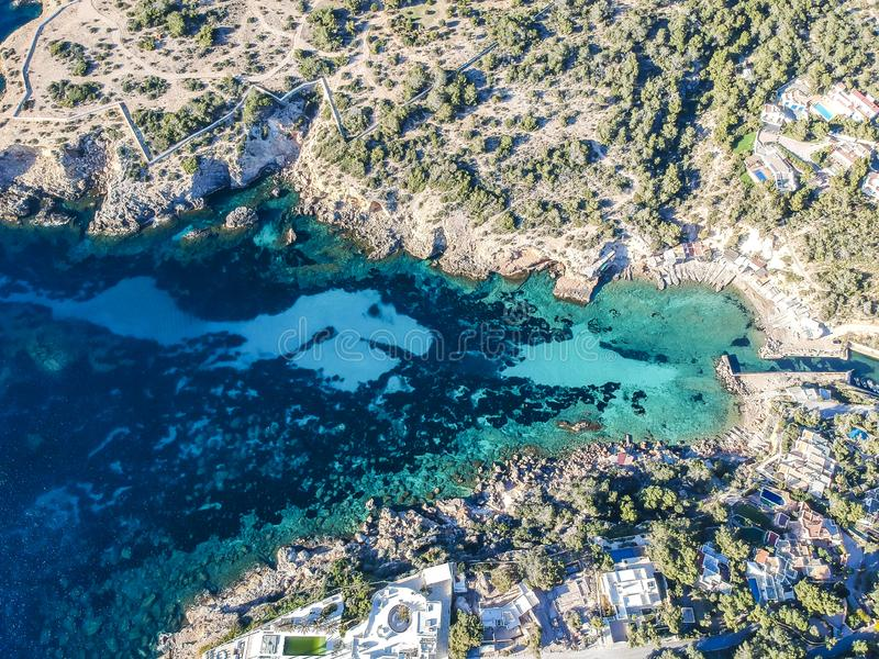 Cala drijft, Ibiza, Spanje bijeen stock foto's
