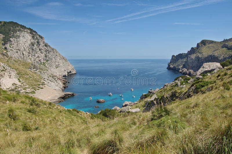 Cala Figuera at Formentor. The secluded bay at Cala Figuera at Formentor, North Mallorca royalty free stock photography
