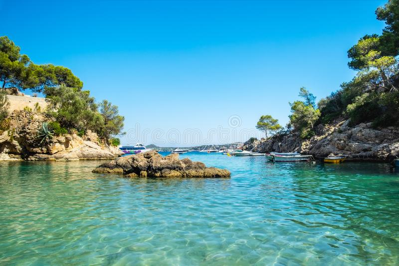 Cala Fornells View in Paguera, Majorca, Spain stock images