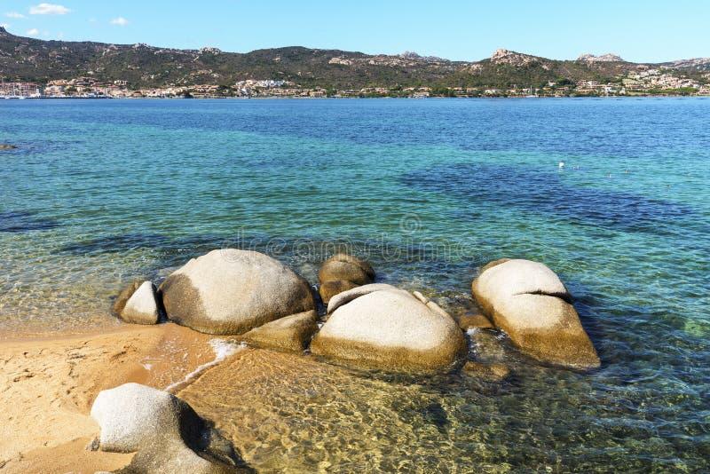 Cala Ginepro beach in Sardinia, Italy. A view of the Cala Ginepro beach in the Costa Smeralda, Sardinia, Italy royalty free stock photo
