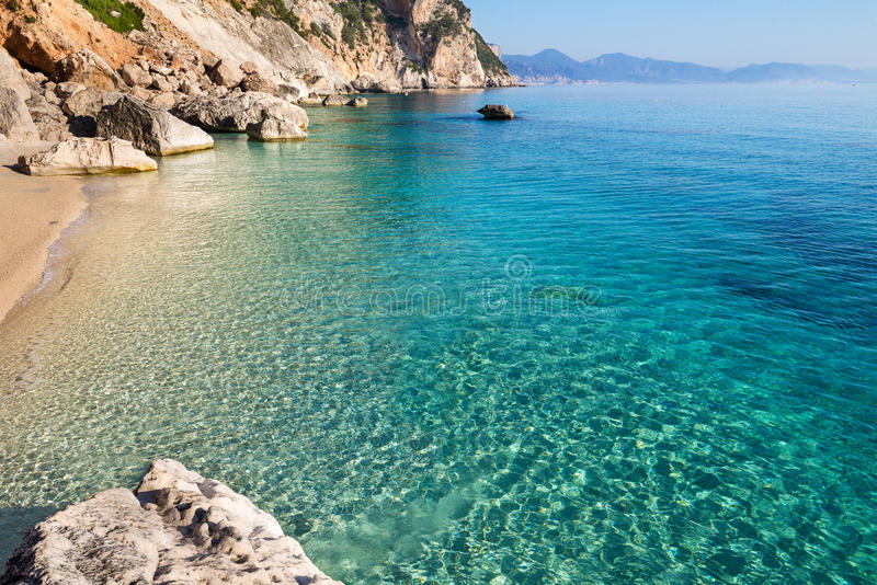 Cala Goloritze海滩,撒丁岛,意大利 免版税库存照片