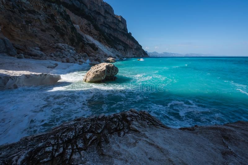 Cala Goloritze beach in winter, Sardinia, Italy royalty free stock photography