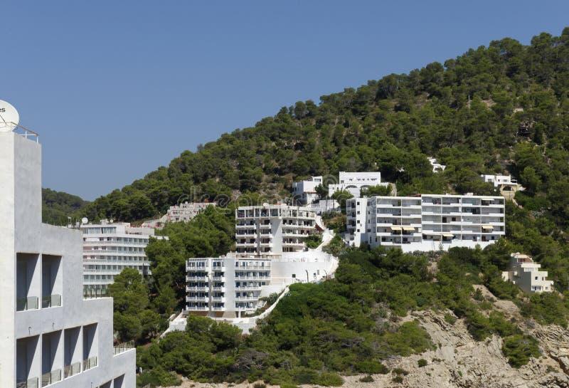 Cala llonga, ibiza, Ισπανία: ξενοδοχεία στοκ εικόνες με δικαίωμα ελεύθερης χρήσης