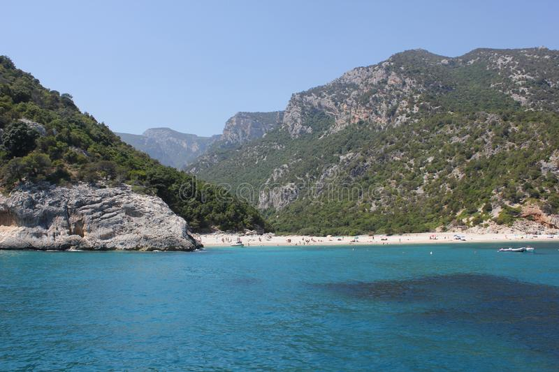 Cala Luna Beach from the sea side - National Park of the Gulf of Orosei and Gennargentu. royalty free stock image