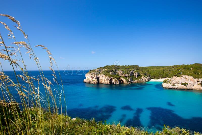 Cala Macarella Macarelleta Cituradella在拜雷阿尔斯的Menorca 免版税图库摄影