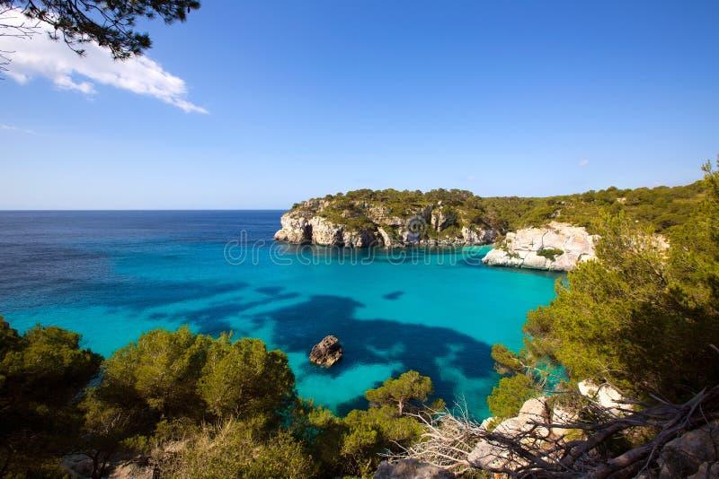 Cala Macarella Macarelleta Cituradella在拜雷阿尔斯的Menorca 免版税库存照片