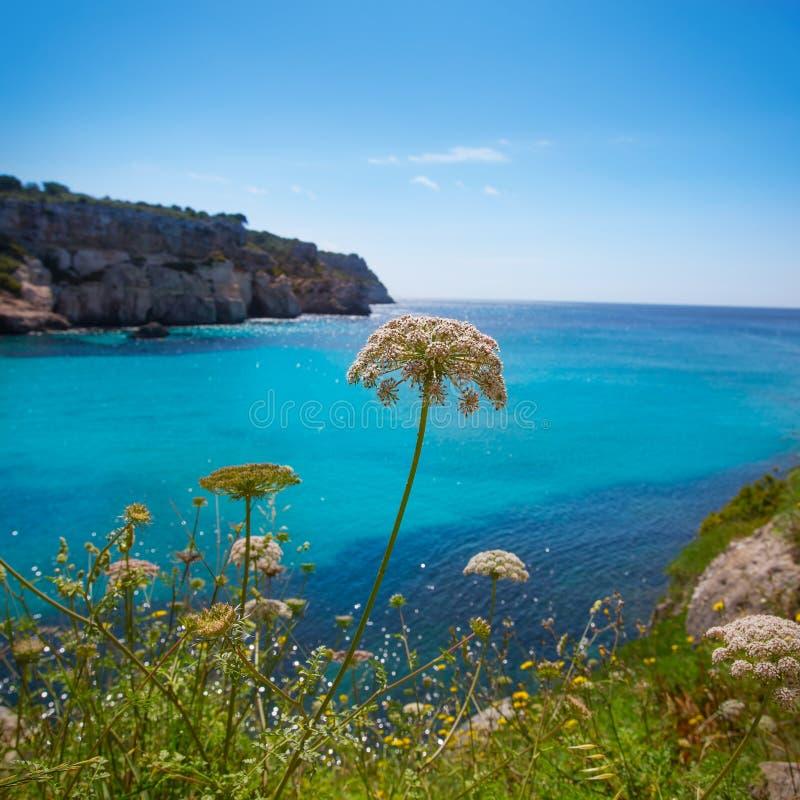 Cala Macarella Menorca绿松石拜雷阿尔斯地中海 图库摄影