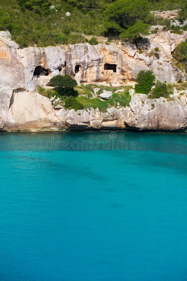 Cala Macarella Menorca绿松石拜雷阿尔斯地中海 免版税库存图片