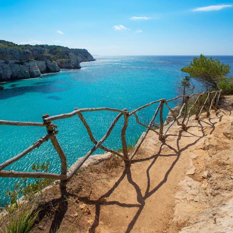 Cala Macarella Menorca绿松石拜雷阿尔斯地中海 库存照片