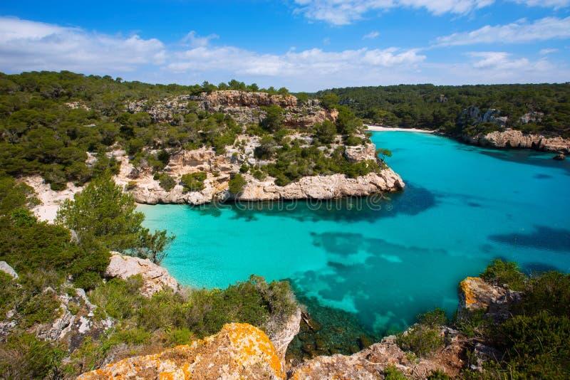 Cala Macarella Menorca绿松石拜雷阿尔斯地中海 库存图片
