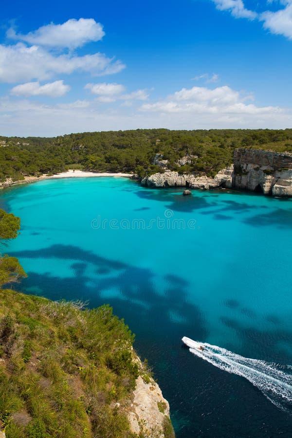 Cala Macarella Menorca绿松石拜雷阿尔斯地中海 免版税库存照片