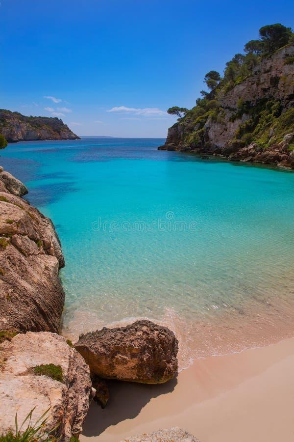 Cala Macarelleta i Menorca på Balearic Island arkivfoton