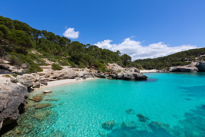 Cala Mitjana y Mitjaneta在拜雷阿尔斯的Menorca Ciutadella 库存照片