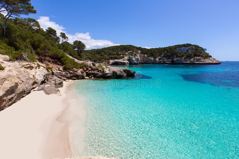 Cala Mitjaneta在Balearics的Menorca Ciutadella 库存照片