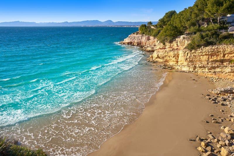 Cala Penya Tallada Salou beach Tarragona. Cala Penya Tallada Salou beach in Tarragona of Catalonia stock photography