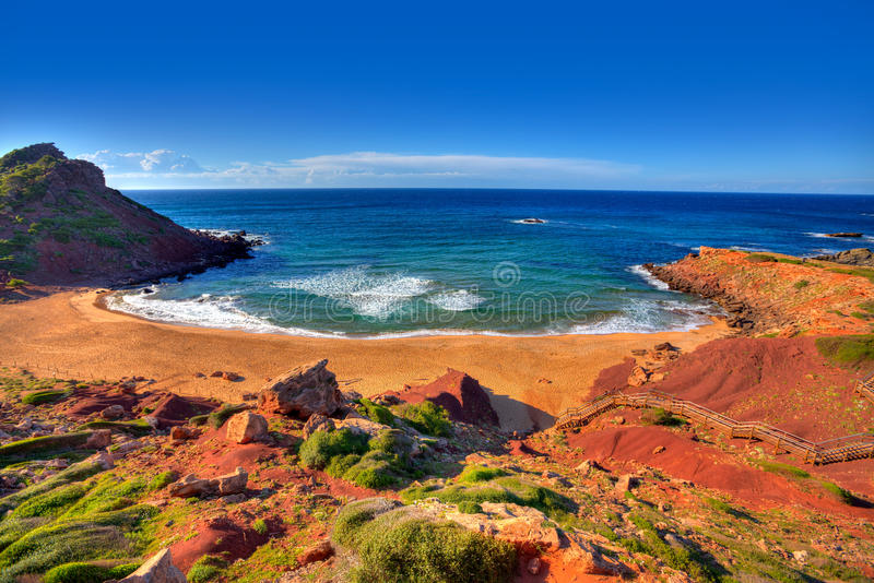 Cala Pilar strand in Menorca in de Balearen stock foto's