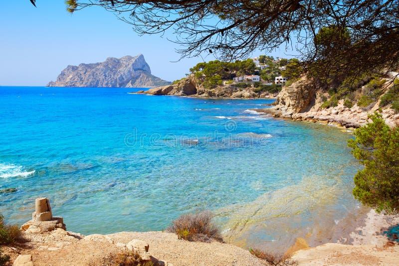 Cala Pinets beach in Benissa Alicante Spain. Cala Pinets beach in Benissa also Benisa of Alicante at Spain royalty free stock photo