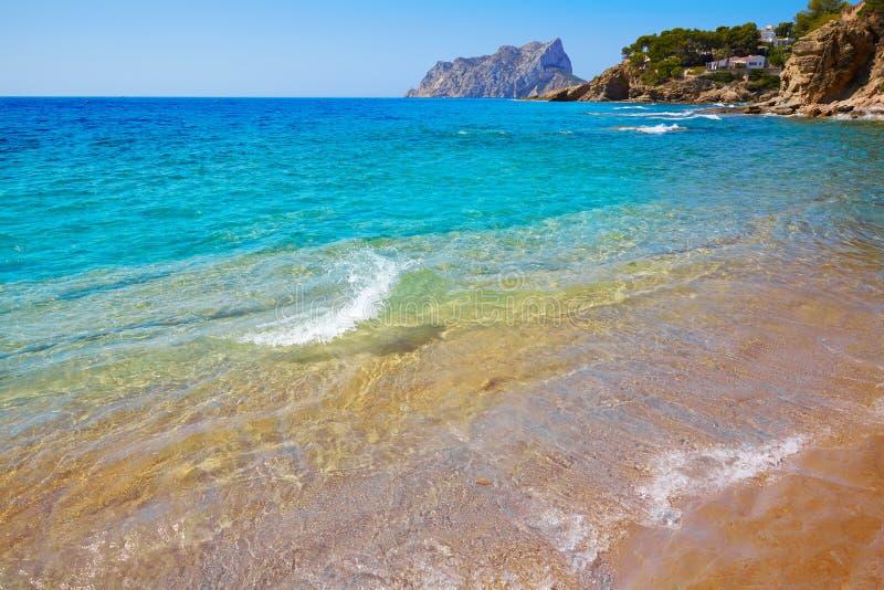 Cala Pinets strand in Benissa Alicante Spanje royalty-vrije stock foto