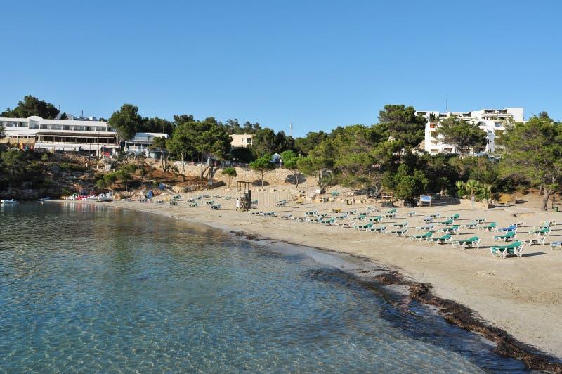 Cala Portinatx海滩在伊维萨岛海岛,西班牙 库存图片