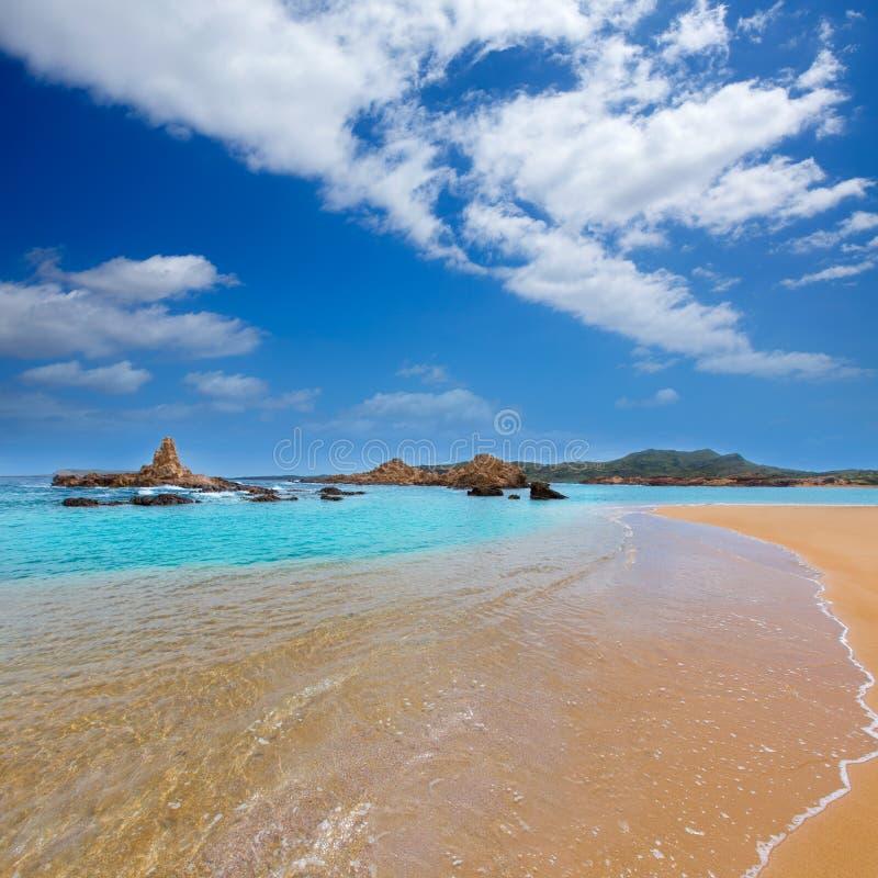 Cala Pregonda在巴利阿里群岛的Menorca 库存图片