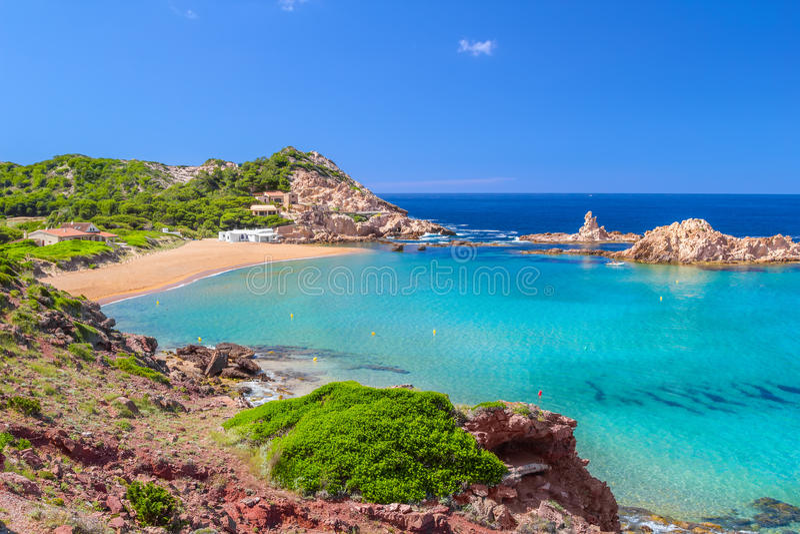 Cala Pregonda beach at Menorca royalty free stock images