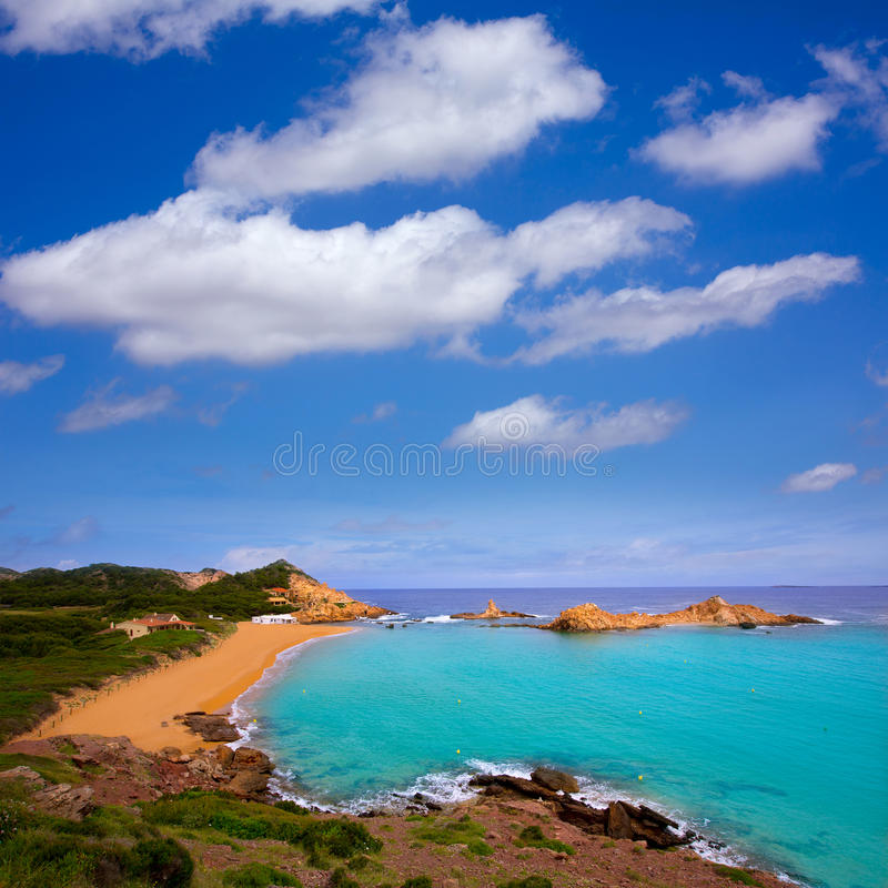 Cala Pregonda in Menorca at Balearic islands stock image