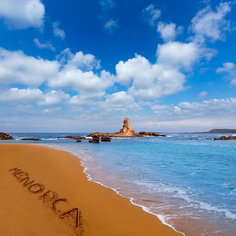 Cala Pregonda in Menorca at Balearic islands royalty free stock image