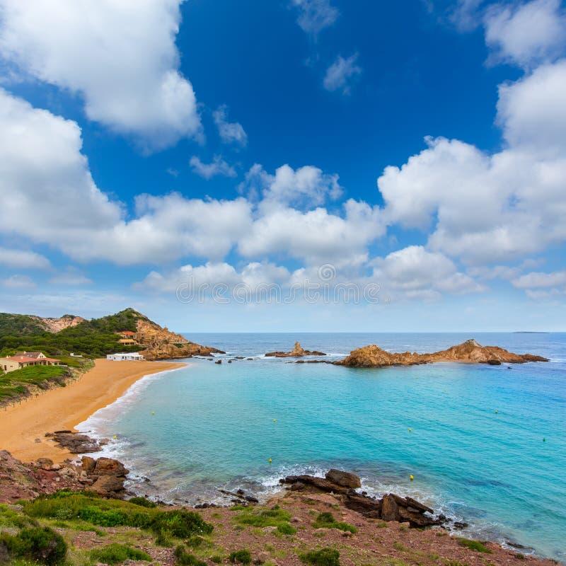 Cala Pregonda in Menorca at Balearic islands stock photography