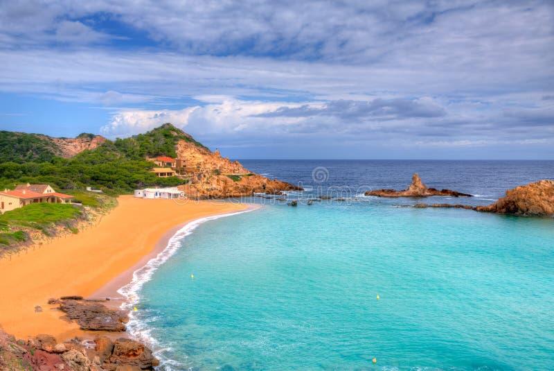 Cala Pregonda w Menorca przy Balearic wyspami zdjęcie royalty free