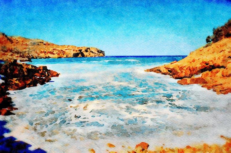 Cala San Vicente, Majorca. Stormy seas break on Cala Carbo beach at Cala San Vicente on the Spanish island of Majorca. Digital image with watercolour effect vector illustration