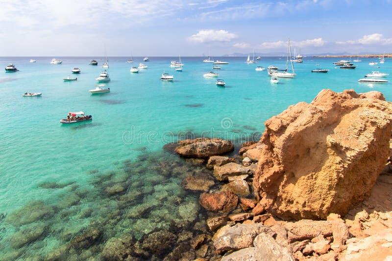 Cala Saona海滩,福门特拉岛,西班牙 库存图片