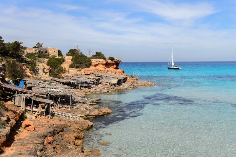 Cala Saona,福门特拉岛,西班牙 免版税库存图片