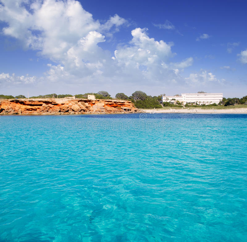 Cala Saona Formentera balearic island. From sea view Mediterranean Spain stock images