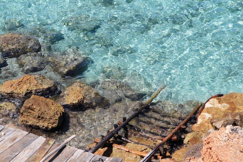 Cala Saona Formentera de Balearen stock foto