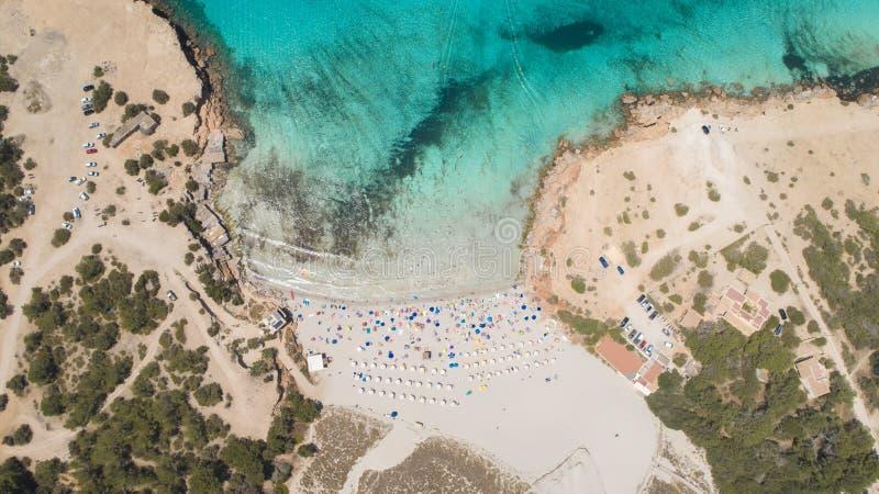 Cala Saona in Formentera island. View with drone of the beach of cala saona in Formentera island stock photo