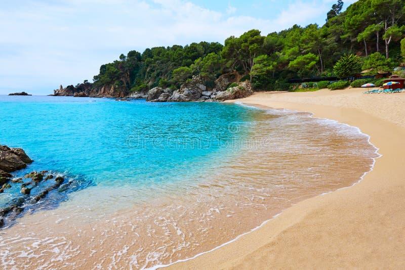 Cala Treumal plaży Lloret De Mar Costa Brava zdjęcia stock
