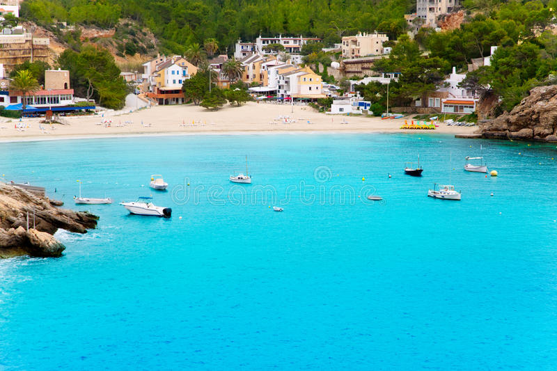 Cala Vadella In Ibiza Island With Turquoise Water Stock Images