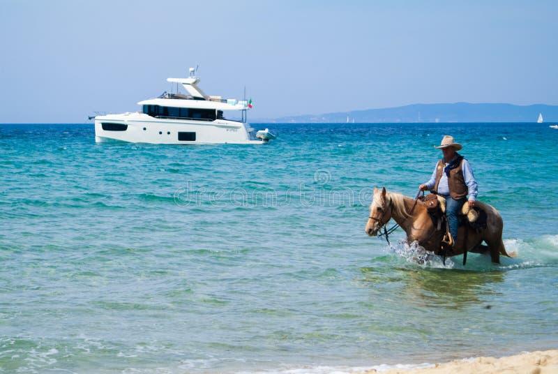 Cala Violina plaża Scarlino, Maremma Tuscany, Włochy Końska jazda przy zmierzchem na plaży zdjęcia stock