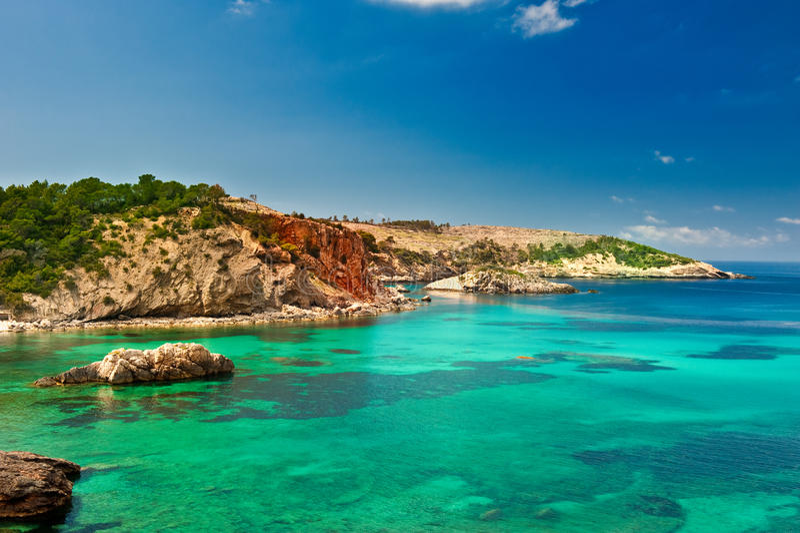 Cala Xarraca, Ibiza Spain fotografia de stock royalty free