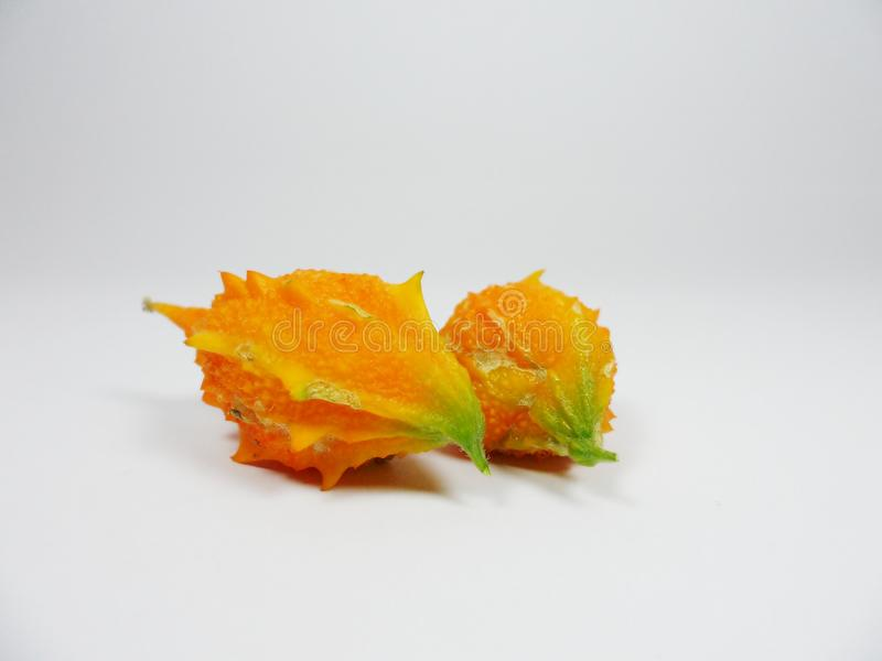 Calabaza amarga, melón amargo, calabaza amarga, bittersquash, bálsamo-guisante foto de archivo