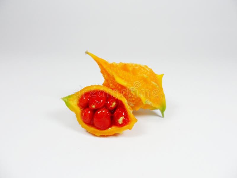 Calabaza amarga, melón amargo, calabaza amarga, bittersquash, bálsamo-guisante fotografía de archivo