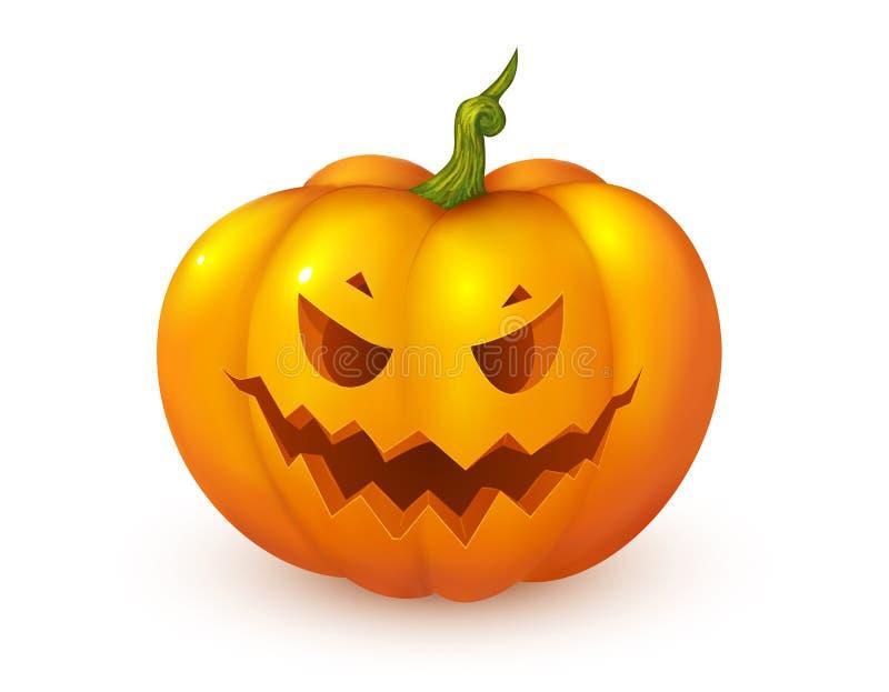 Calabaza anaranjada del vector de la cara del enchufe del estilo de la historieta Elemento de la decoración de Halloween libre illustration