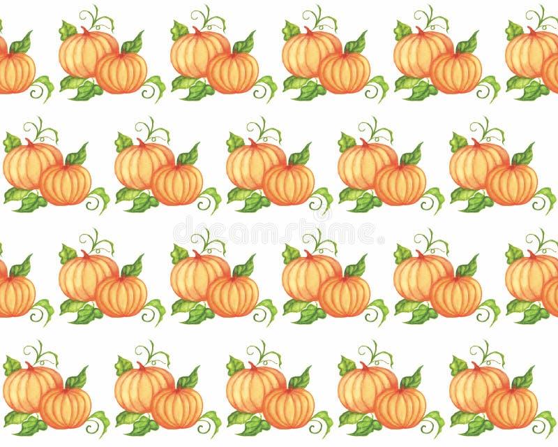 Calabaza anaranjada sin inconvenientes con hojas verdes pintadas a mano en acuarela. Verduras, cosecha de otoño ilustración del vector