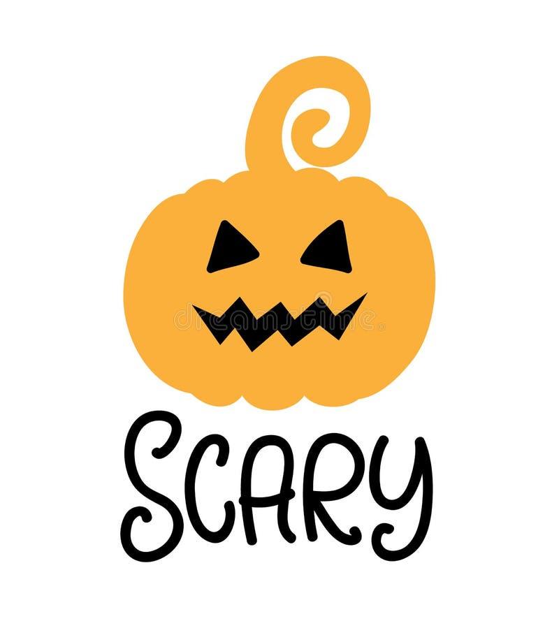 Calabaza asustadiza Cartel del partido de Halloween con garabato dibujado mano de la calabaza ilustración del vector
