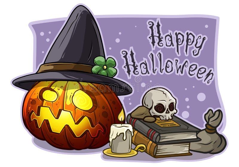 Calabaza asustadiza de Halloween de la historieta con el sombrero de la bruja stock de ilustración