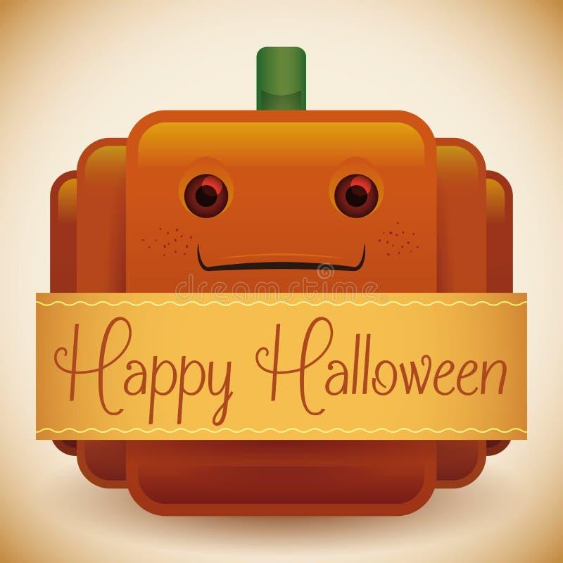 Calabaza brillante del feliz Halloween lindo stock de ilustración